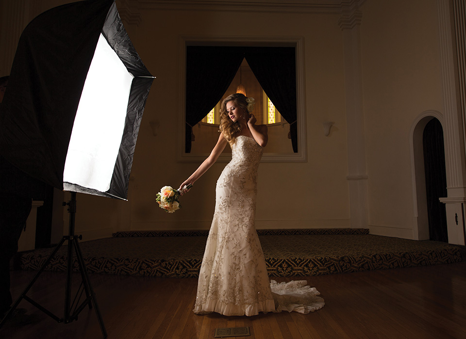 Wedding photo shoot of bride lit using speedlight and Mega JS Apollo softbox