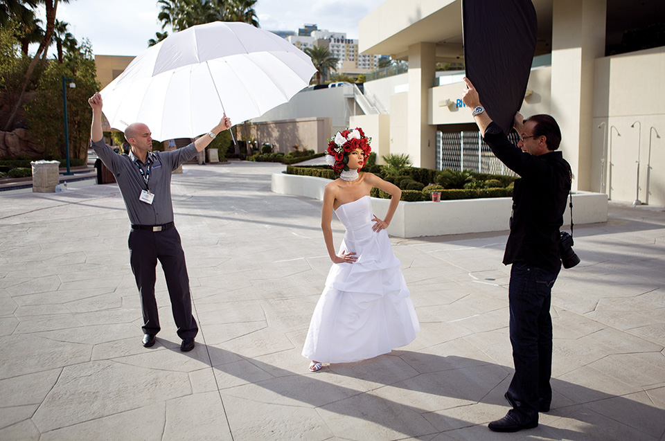 Diffusion Parabolic Umbrella in use on location photo shoot