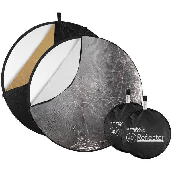 """Collapsible 5-in-1 Reflector with Gold Surface (2-pack, 40"""")"""